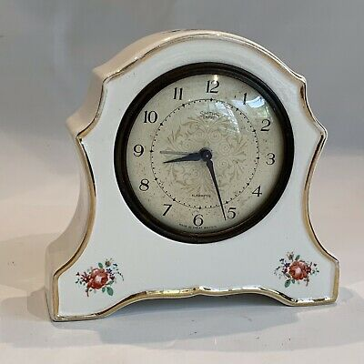 vintage smiths Wind Up Rose Porcelain mantle clock Made In Great Britain