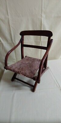 Antique Oak Child's Folding Campaign Chair with Jute Webbing and Tapestry Seat