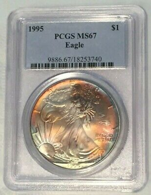 Toned 1995 American Silver Eagle PCGS MS67: Attractive Rainbow Toning