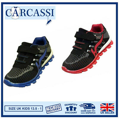 Kids Girls/Boys Trainers School PE Shoes Hook and Loop Strap Elasticated Laces