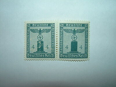 1942 GERMANY PARTY OFFICIAL 4pf BLUE PAIR (sgO800) MNH CV £10.50
