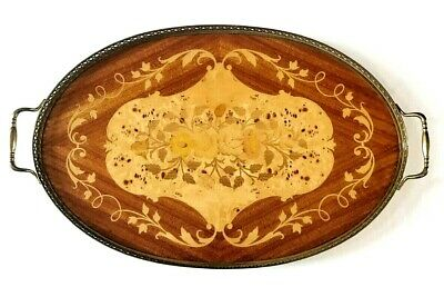 Vintage Large Wooden Serving Tray Inlaid Marquetry With Handles Oval