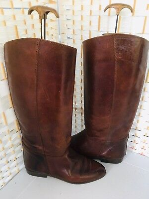 Vintage Saxone Conker Brown Tan Italian Leather Riding Boots 5/38