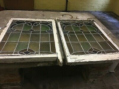 Pair Original Victorian Stained Glass Leaded Lights Window Panels
