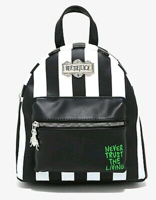 BEETLEJUICE Mini Backpack Bag Striped Never Trust The Living NEW