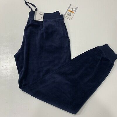 Style CO Womens Velour Joggers Pants Size S Dark Blue Relaxed Fit Active Casual