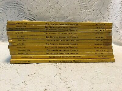 12 Vintage National Geographic Magazine 1952 Complete Year Set Great Coke Ads