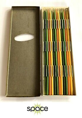 Box Of Vintage Multicolor Slimline Tapers Candles Mid-Century Dansk Nos In Box