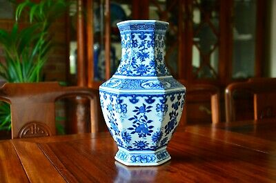 19th Chinese Antique Qing Dynasty Blue and White Hexagonal Vase with Kangxi Mark