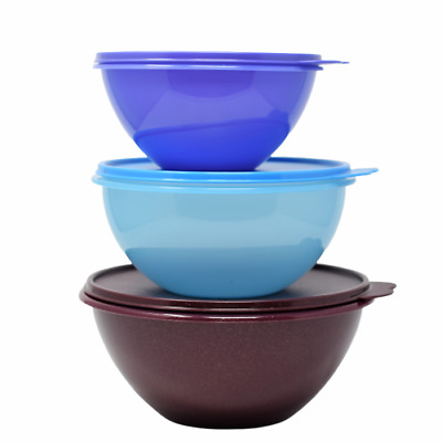 Tupperware Wonderlier Mixing Bowls Set of 3 Burgundy Sparkle, Blue, Purple