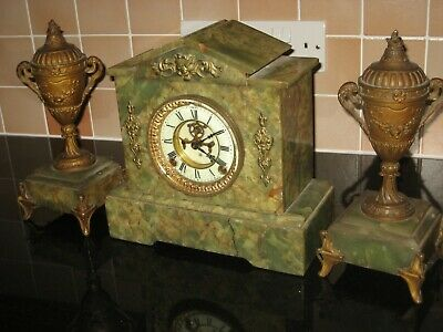 Ansonia Clock Ansonia Mantle Clock Ansonia Marble Ansonia Green Marble Clock