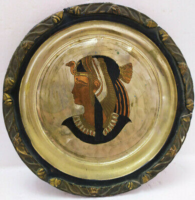 Solid Handmade Graved Copper Wall Plate Ancient King Tut