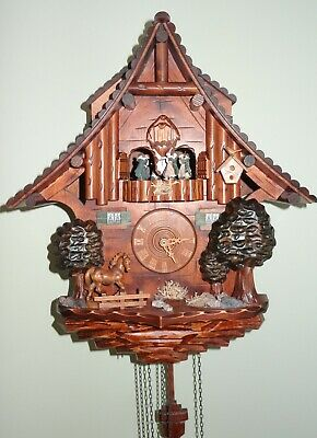 """Vintage Cuckoo Clock made in Germany Black forest with music, 17""""x15""""x8"""""""