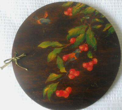 Vintage 1930'S Pokerwork Doyley Doiley Holder Press Finches Berries