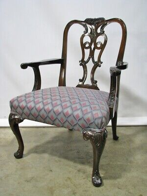 Vintage Mahogany Chippendale Style Open Armchair; Beautifully Carved Details