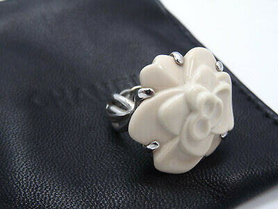 AUTHENTIC CHANEL SOLID 18K WHITE GOLD CAMELLIA AGATE FLOWER COCKTAIL RING sz6.75