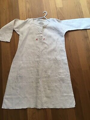 Antique Monogrammed French Nuns Nightgown 100% Linen