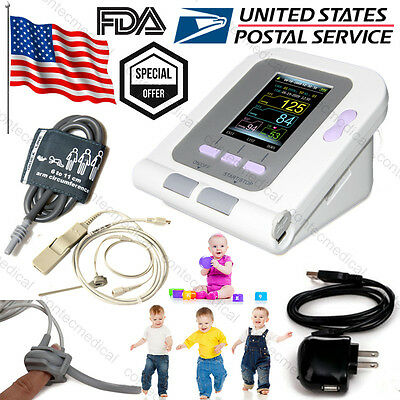 Infant/Pediatric Upper Arm Blood Pressure Monitor NIBP+SpO2 probe+Power charger