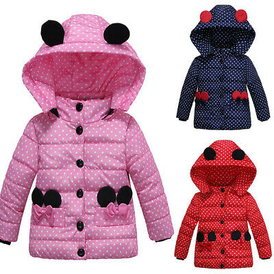 Fashion Kids Girls Spotted Long Sleeve Hooded Quilted Puffer Bubble Coat Jacket