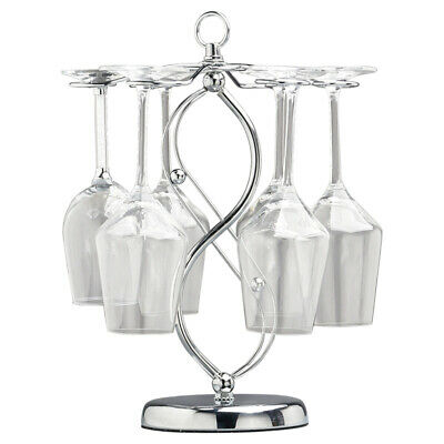 6 Cup Wine Glass Hanging Holder Freestanding Goblet Storage Organizer Rack Stand