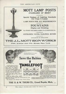 1916 AC Graphic Ad J L MOTT Iron Works MOTT Lamp Posts with Fountains New York