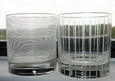 MIKASA CHEERS Horizontal Vertical lines Double Old Fashioned Glasses  SET of 2