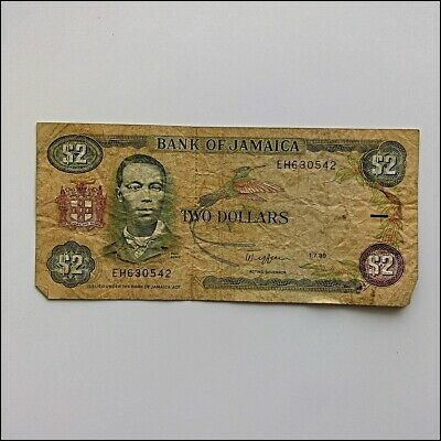 Bank Of Jamaica Two Dollars $2 1989 Banknote (AP13)