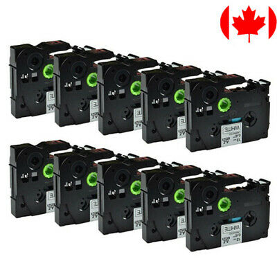 """10 Pack TZe-231 Label Tape, 12mm (0.47""""), Black on White, Compatible for Brother"""