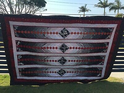 Handmade Patchwork Quilt  Red black White. Single Bed Or Topper