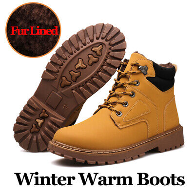 Men's Snow Boots Anti-skid Warm Fur-Lined Lace Up Casual Shoes Winter Outdoor