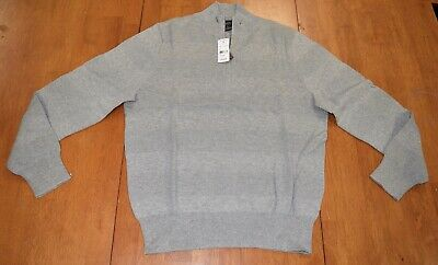 Brooks Brothers Cotton Half Zip Pullover Sweater Gray NWT $118