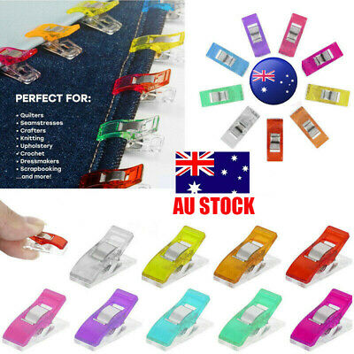 100PCS Wonder Clips Crafts Quilting Sewing Knitting Crochet 7 Color Clips AU
