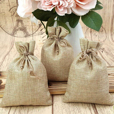 50X Small Burlap Jute Hessian Wedding Favor Gift Candy Bags Drawstring Pouches
