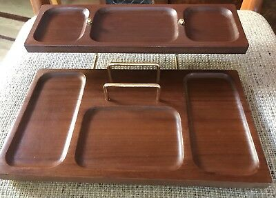 Mid Century Modern Genuine Mahogany 2 Tier Key Shelf Organizer Valet By Shields