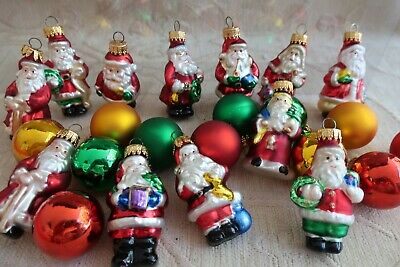 24 glass CHRISTMAS TREE HANGING DECORATIONS- Santas & Baubles BOX