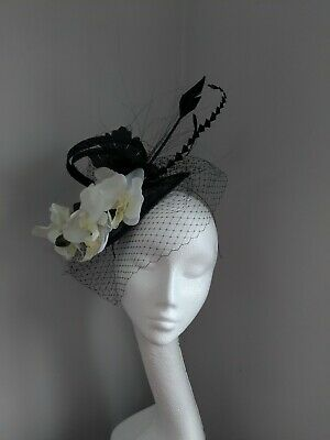 Black And White Orchid Fascinator ,Races Weddings