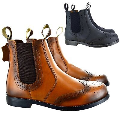 Mens New Chelsea Brogue Tan Leather Sole Dealer Slip On Ankle Shoes Boots Size