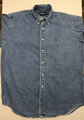 Vintage 90s Ralph Lauren Blaire Mens Medium Blue Jean Button Down Shirt Long Slv