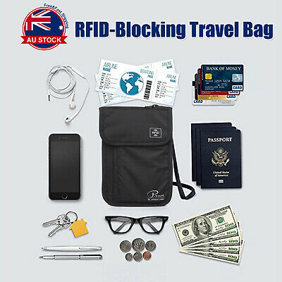 RFID Blocking Passport Card Holder Neck Stash Pouch Security Travel Wallet Bag O
