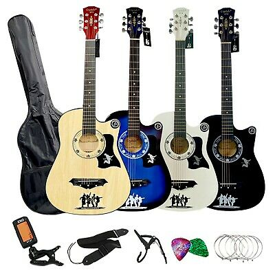 """4/4 Size 38"""" Classic 6 Strings Acoustic Musical Guitar Pack Boys Girls Music Fun"""