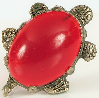 Antique Chinese Export Silver Plated Cherry Red Amber Turtle Brooch 6.6 Grams