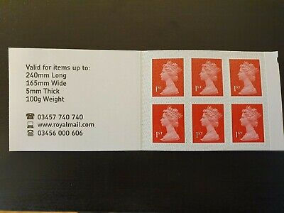 6 x 1st Class Royal Mail Postage Stamps NEW AND UNUSED - GENUINE