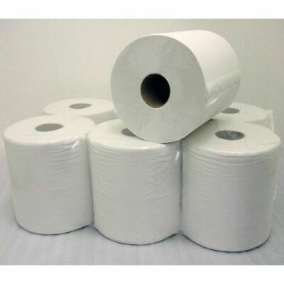 6-24 x 2 Ply White Centre Feed Embossed Paper Wipes Rolls Hand Towel Tissue