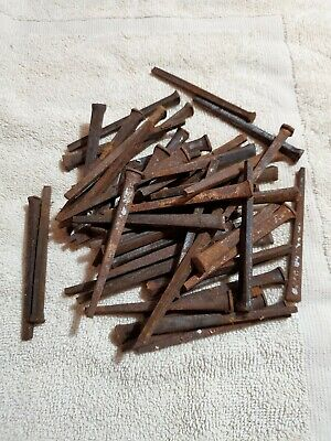 VTG Lot of Antique Square Cut Nails 2 lbs 54 Old Rusty Hardware  3.5""