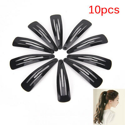 8pc GIRLS BLACK /& WHITE MIX SMALL 5cm SNAP CLIPS SLEEPIES HAIR GRIPS SLIDES