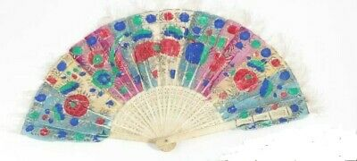 Antique bone and feather fan hand-painted oriental  Chinese folding fan