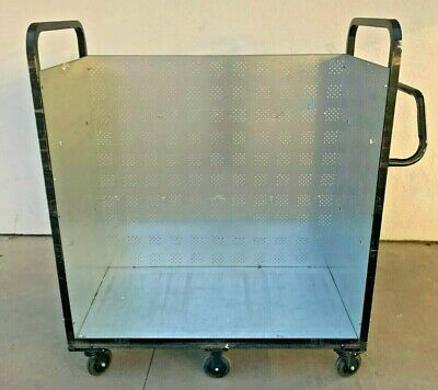 Stainless Steel Utility Storage Push Cart, No Shelves , 6 Castor Wheels