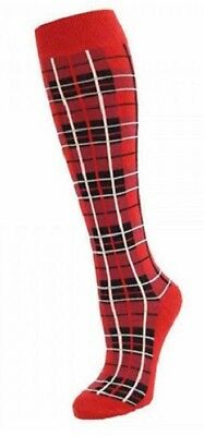 Ladies Black Thigh High Stockings Black and Red for fancy dress