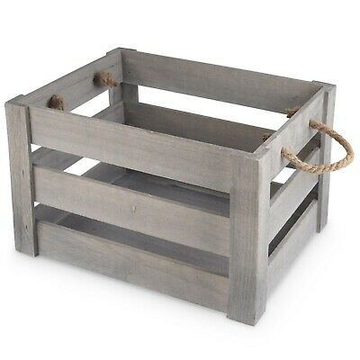 Grey Wooden Crate With Rope XL Handles Display Hamper Christmas Grey Box 10