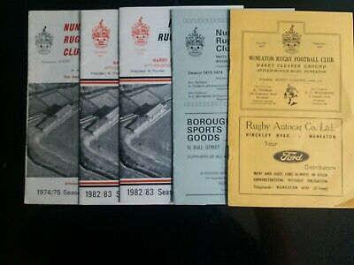 NUNEATON RUGBY UNION  5  Different programmes 1968/9 to 1982/3 £4.99 POST FREE